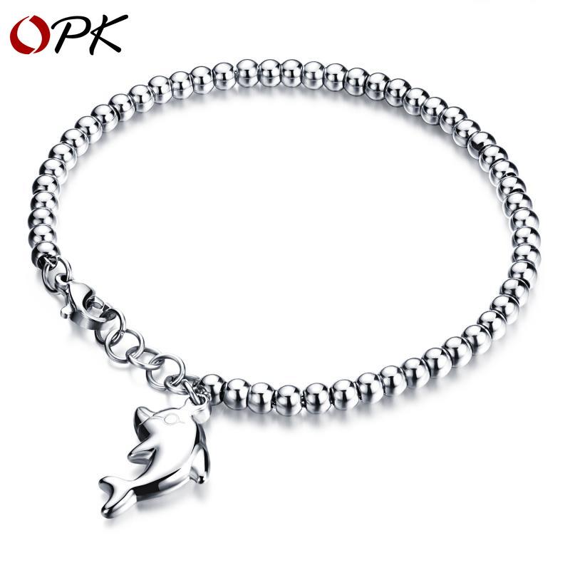 精緻圓珠手鍊氣質款 海豚吊墜鈦鋼女士玫瑰金手鍊 生日禮物