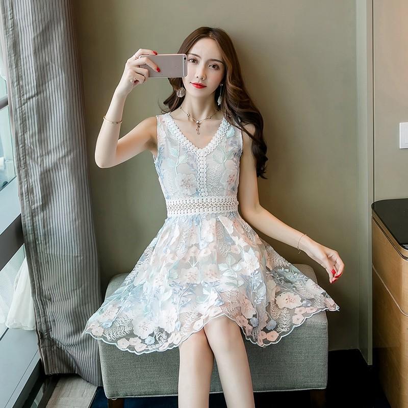 熱銷款 繡花洋裝女無袖V領時尚飽滿立體花刺繡蕾絲仙女裙 韓妞必備
