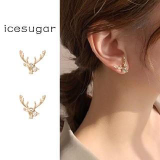 925純銀針鑲鑽麋鹿耳釘 防過敏ins新款一鹿有你韓國精緻質感小鹿耳環 創意百搭高級感可愛耳飾
