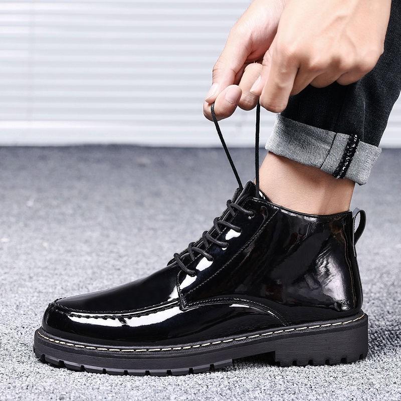 ℡高幫皮鞋男韓版內增高皮靴百搭學生馬丁靴短靴子冬季男鞋加絨棉鞋