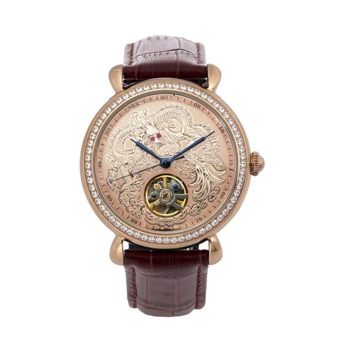 🐻被被熊🐻Manlike 曼莉萊克 龍行天下 經典紅寶 晶鑽 機械錶 腕錶 不銹鋼 真皮錶帶 手錶 八心八箭 玫瑰金