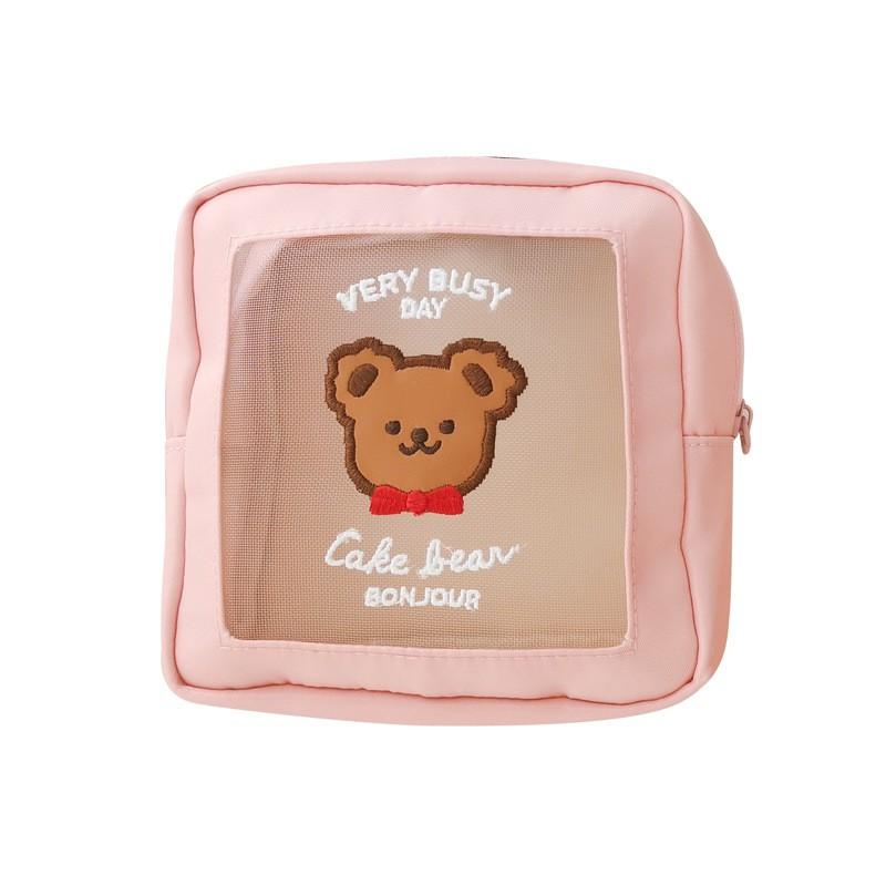 【CHL】milkjoy 小熊化妝包 大容量化妝包 網紗收納包 洗漱收納包 方形收納包 旅行包 收納包 化妝包