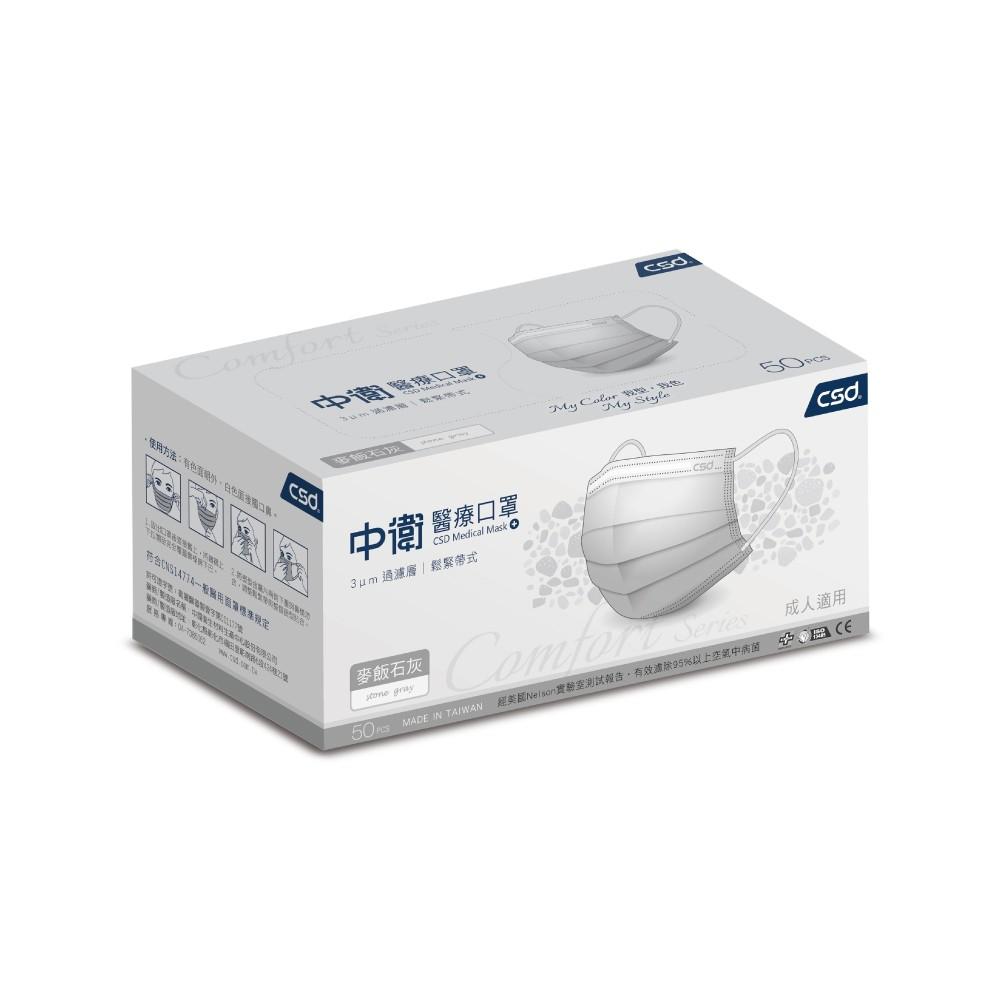 醫療級 中衛 麥飯石灰 50入盒裝 全新口罩 x 台灣生醫醫療口罩 套組販售 雙鋼印 限量商品