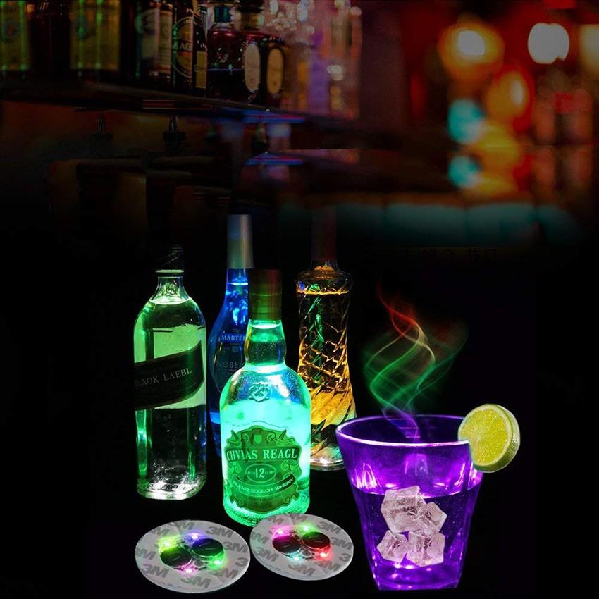 10Pcs發光杯墊LED瓶燈增光劑LED貼紙聖誕晚會婚禮俱樂部酒吧裝飾的杯墊碟片led