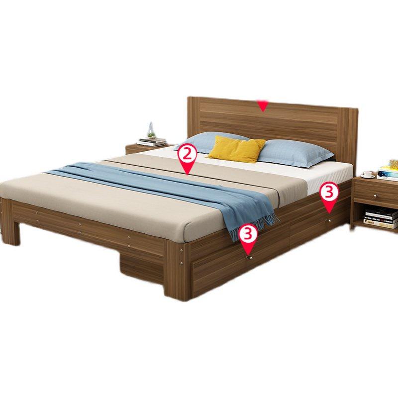 @免運#實木床,實木床1.5米松木雙人床現代簡約經濟型1.8m出租房北歐單人木床1.2