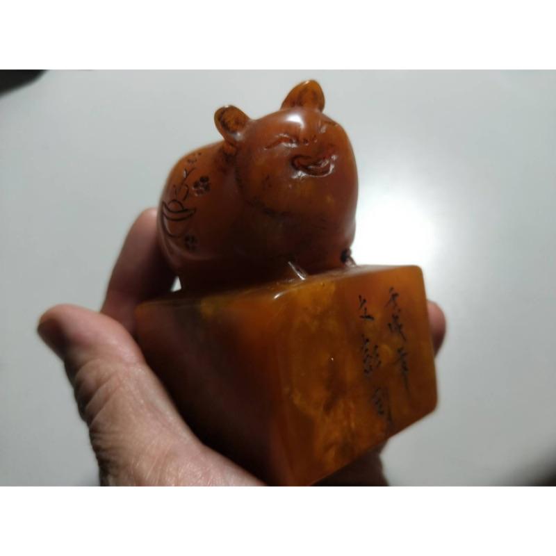 壽山田黃凍印章 招財金豬 擺設 老件
