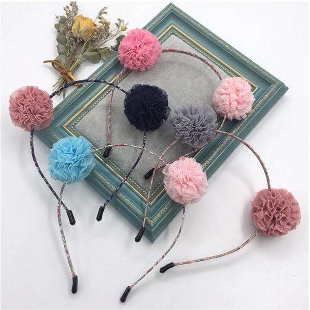 寶寶髮飾 兒童髮飾 兒童髮箍 寶寶髮箍 圓球髮箍 韓國蕾絲圓球可愛耳朵髮箍(FF-807) A0
