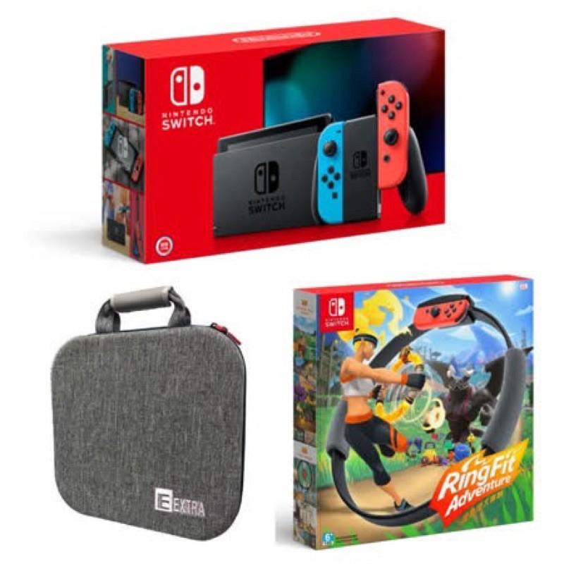 【Nintendo 任天堂】Switch電續加強主機+健身環同捆組+專用豪華收納包+太鼓達人+瑪利歐大亂鬥