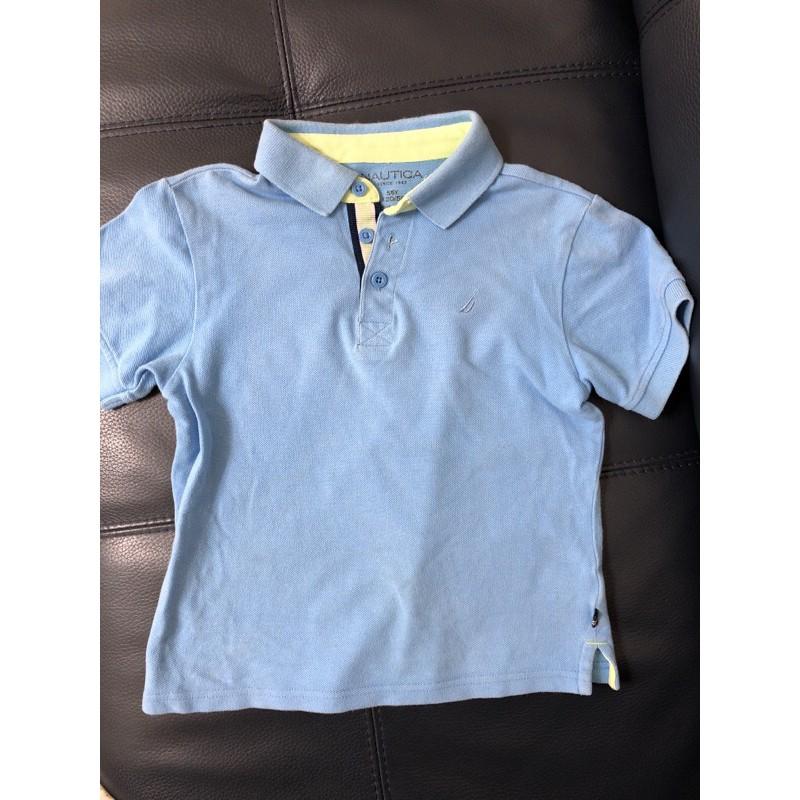 Nautica 藍色短袖polo衫 5/6y 120