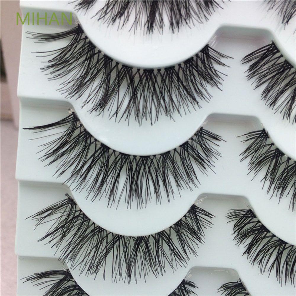 MIHAN 5對濃密長款柔軟交叉自然假睫毛