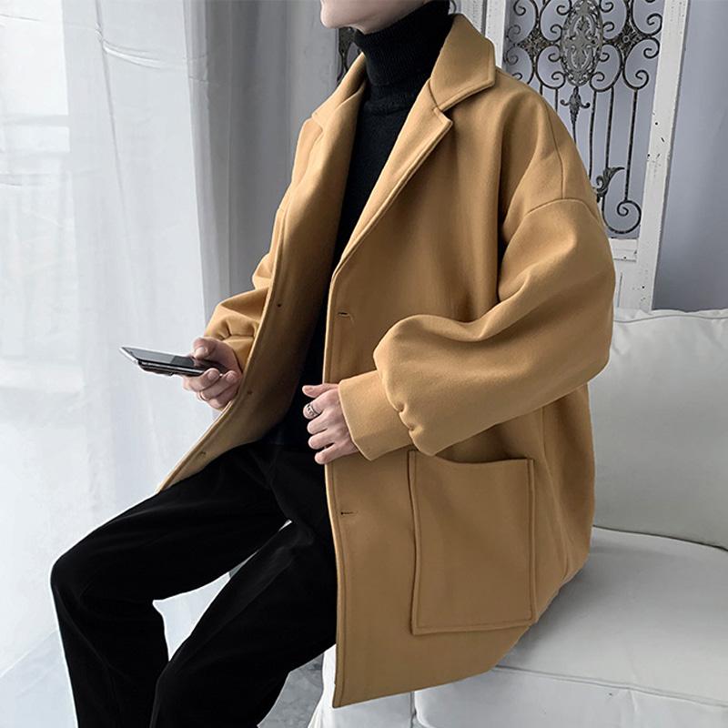 男呢子西裝大衣外套毛呢韓版秋冬學生潮英倫風潮流風衣痞帥中長款 ZtAP