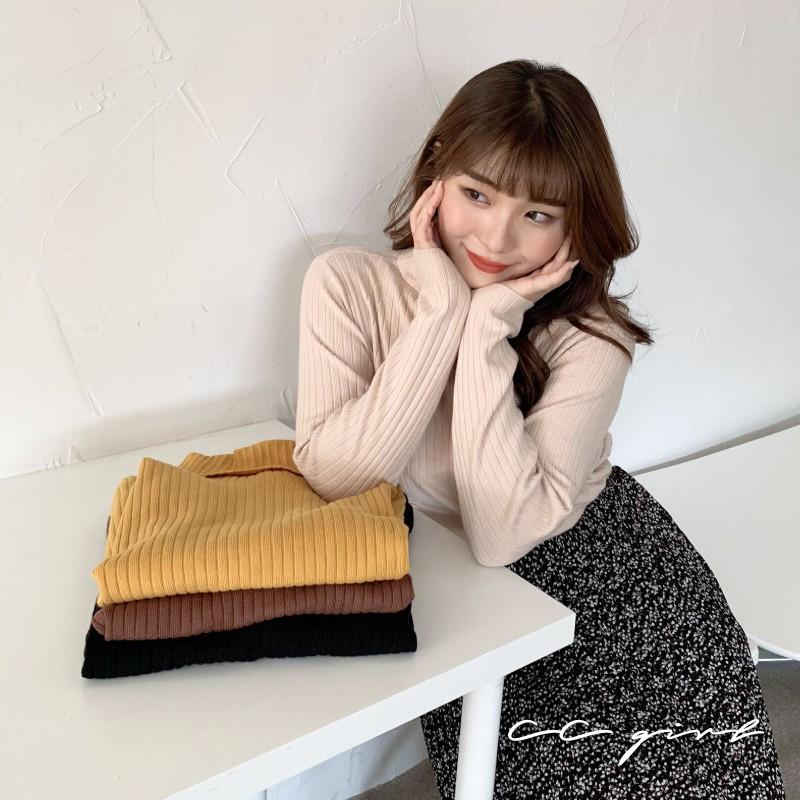 CC-GIRL 日系百搭高領針織長袖上衣 -共 4 色- 適XL~3L《 N0101 》中大尺碼