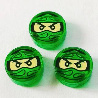 #玩樂高 LEGO 旋風忍者 單個 1x1 透明綠色 勞埃德圖案 圓形 平滑片 全新 98138 70604 70594 高雄市