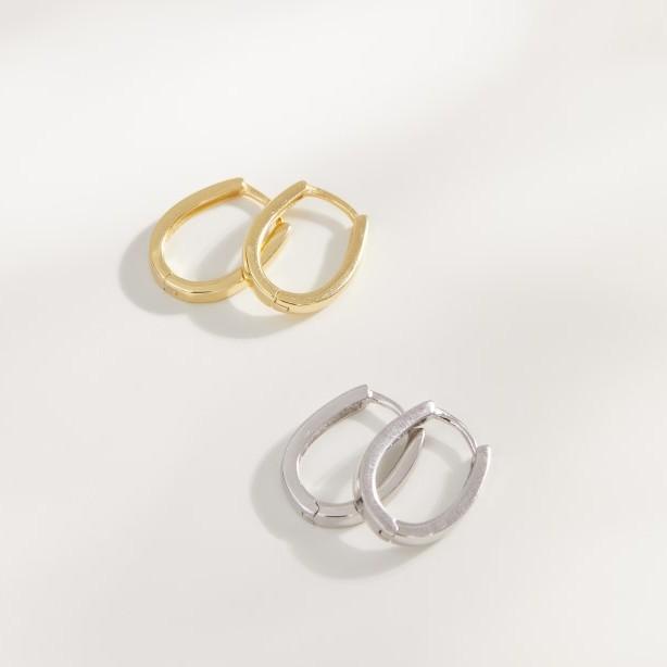 馬蹄金 耳環(金色/銀色)