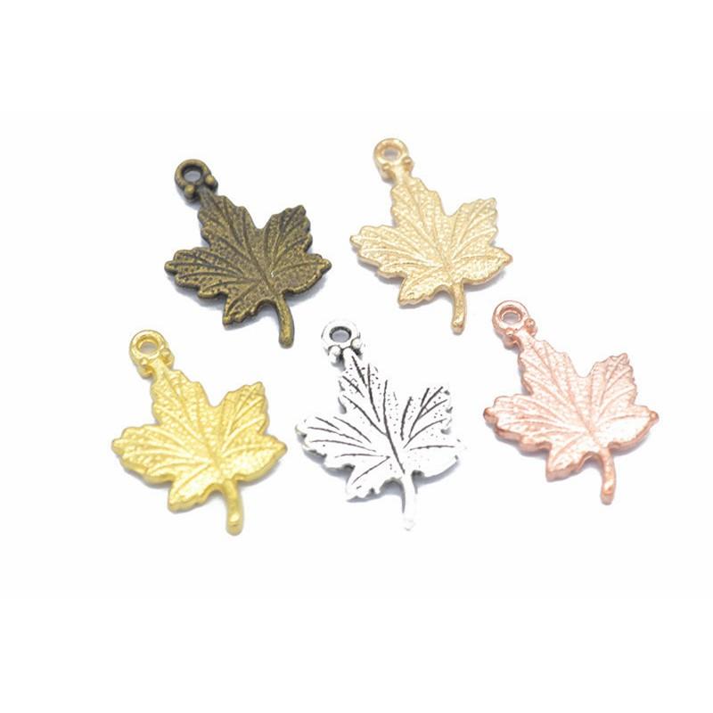 10件西藏銀楓葉吊墜串珠首飾DIY