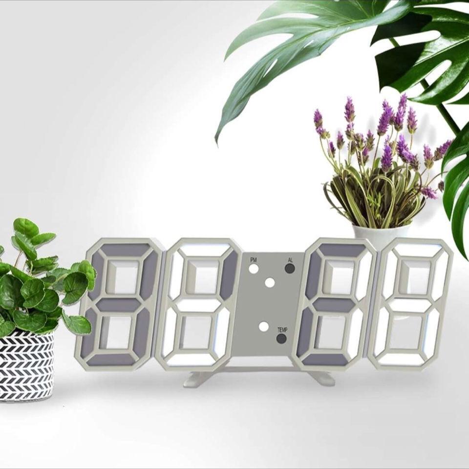 ◎✒✶擺件現代簡約掛鐘 時尚創意時鐘3D立體鐘萬年歷數字LED聲控鐘