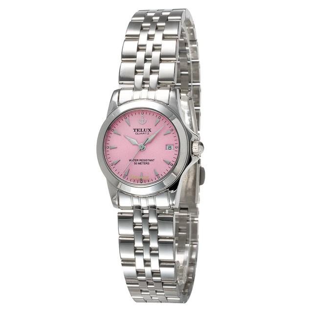 台灣品牌手錶腕錶【TELUX鐵力士】絕世女伶腕錶26mm台灣製造石英錶7925W-PINK鋼帶粉紅面