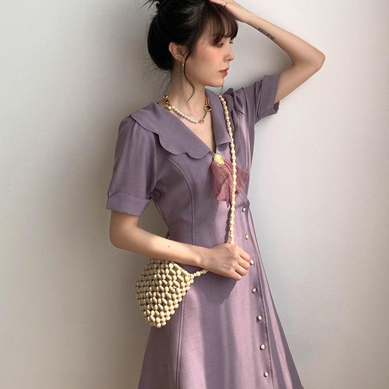 復古洋裝 氣質洋裝 長袖洋裝 法式復古仙女超仙森系紫色少女雪紡收腰顯瘦小個子氣質子夏