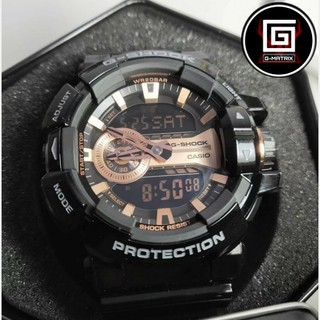 CASIO 卡西歐 G-SHOCK  金屬系雙顯 玫瑰金黑 防水防震 運動 機械 手錶 GA-400GB-1A4DR 桃園市