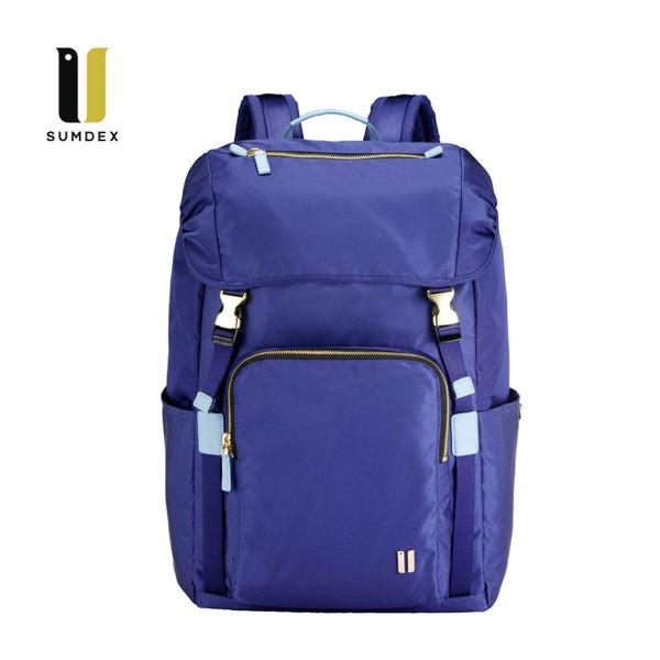 SUMDEX 14.1吋+10吋平板 防盜後背包NON-755TB暮光藍