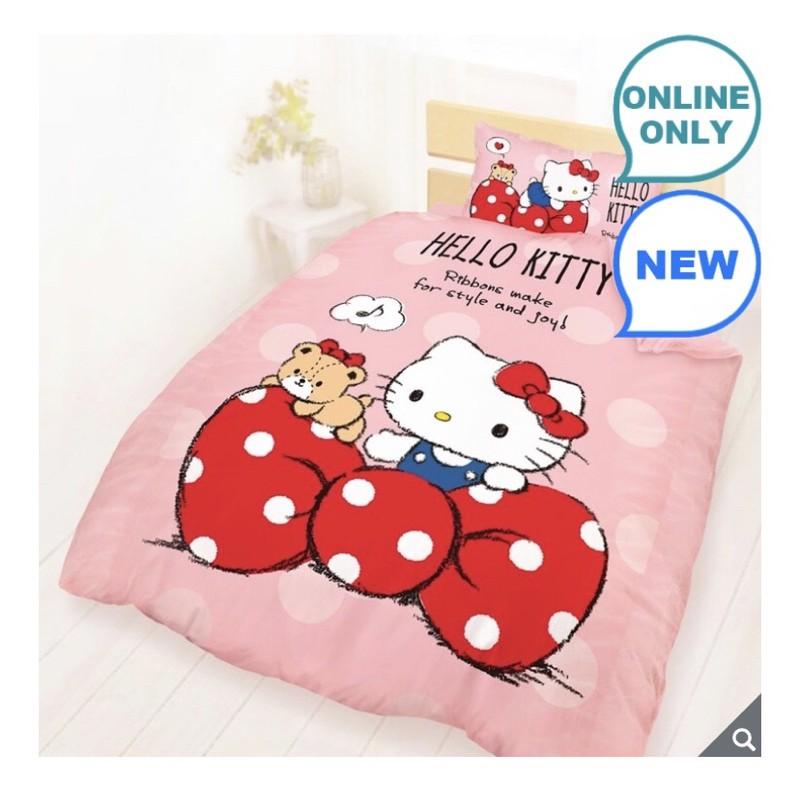 COSTCO 好市多線上代購100% 純棉單人兩用床包被套3件組 - Hello Kitty 點點蝴蝶結