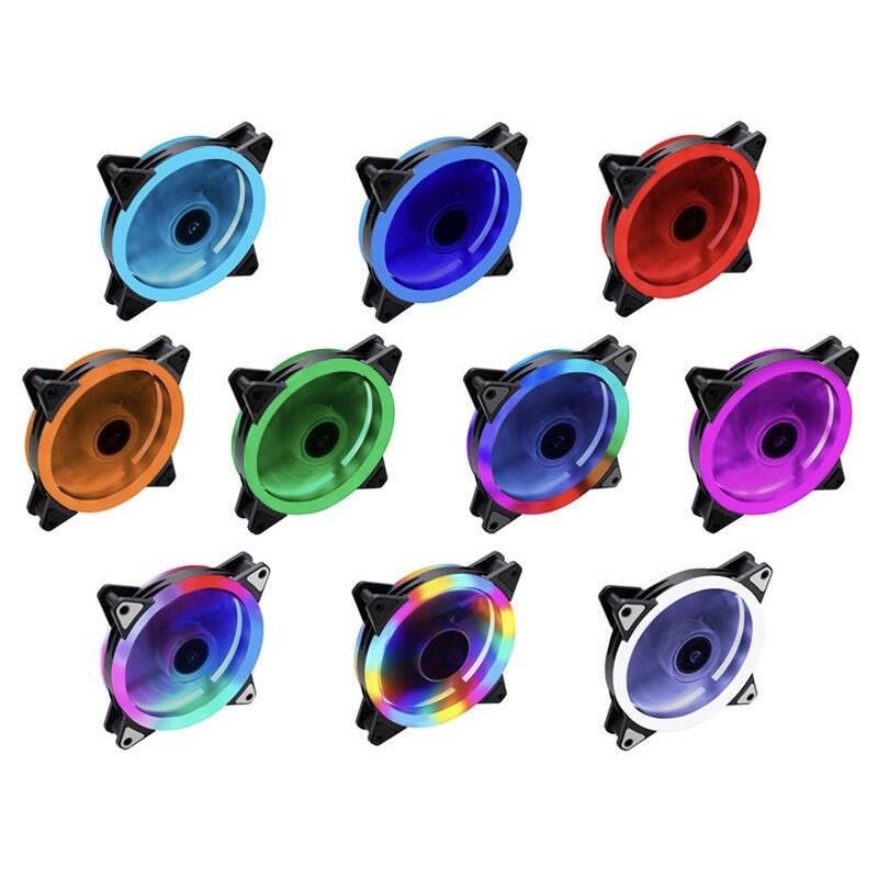 【電腦工廠】RGB雙光圈風扇 彩光風扇 主機風扇 電腦風扇 定色風扇 機殼風扇 散熱風扇 粉色 12CM 高cp值 原價