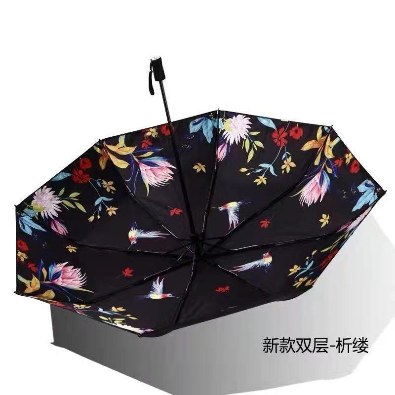 【安全防護】【可批發】正品BANANA雙層遮陽傘三折超強防曬小黑傘女防紫外線遮陽傘晴雨傘