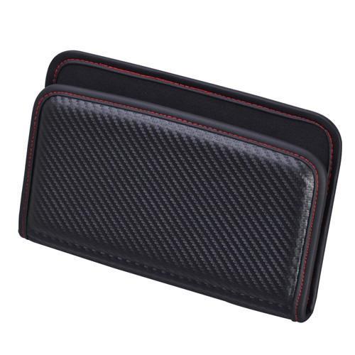 車之嚴選 cars_go 汽車用品【W844】日本SEIWA碳纖紋黏貼式汽車內裝置物袋 智慧型手機收納袋置物盒