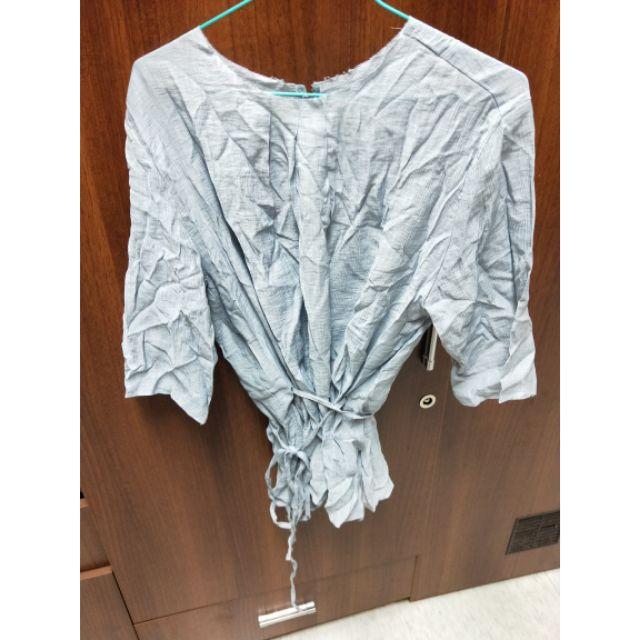全新轉賣淡藍氣質百搭綁帶棉麻上衣