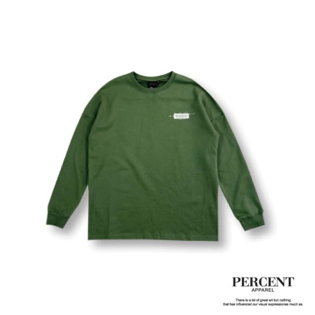 PERCENT% 航海長T 深灰 灰綠 綠 工裝 落肩 簡約 潮流 OVERSIZE 印刷T恤