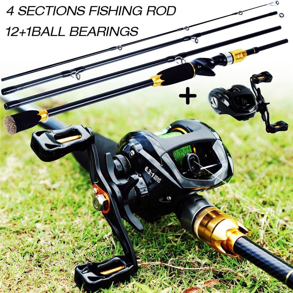 Sougayilang 漁具 四節路亞釣魚竿和12+1BB 水滴輪捲線器組合 誘餌鑄造釣魚竿 可選左右手水滴輪 戶外釣魚