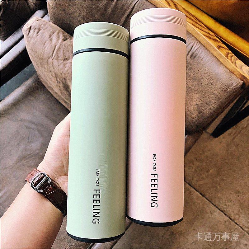 韓版清新帶茶隔保溫杯男女學生純色水瓶便攜304不銹鋼隨手水杯子