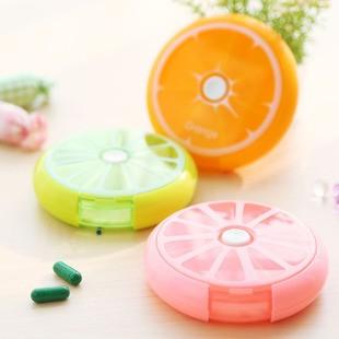 海馬寶寶 水果造型按鈕旋轉式7格藥盒 便攜式小藥盒 收納盒
