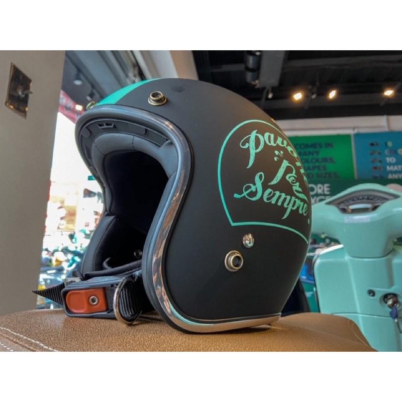 《尊尊小舖》Vespa原廠 MODS黑綠安全帽XL