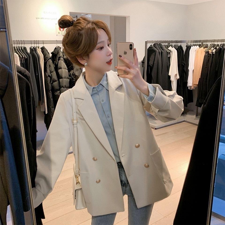2021新款雙排扣西裝外套女設計感小眾韓系通勤春裝女士炸街小西服