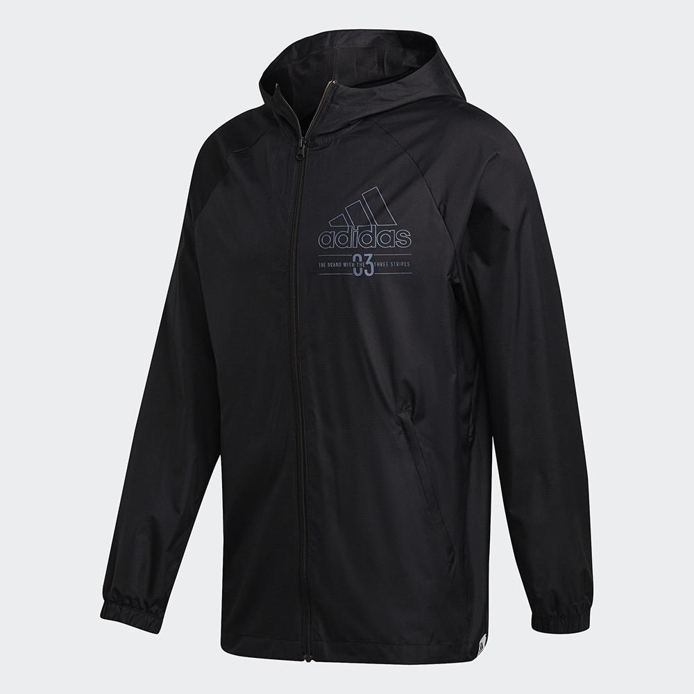 ADIDAS 男裝 外套 連帽 訓練 風衣 拉鍊口袋 彈性袖口 黑【運動世界】GD3837