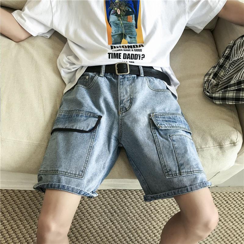 [現貨發送]夏季牛仔短褲 牛仔五分褲/中褲 薄款大口袋寬鬆短褲 簡約水洗牛仔布褲子 中腰男裝短褲