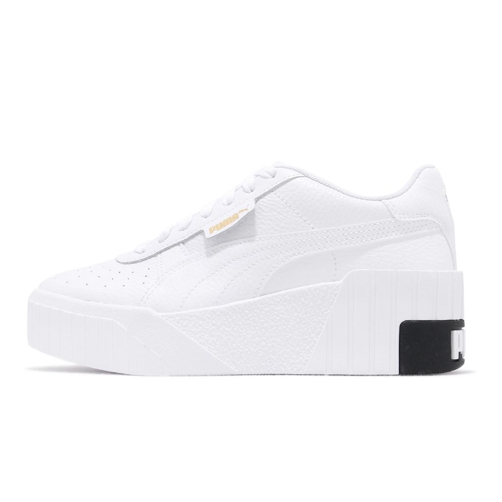 Puma 休閒鞋 Cali Wedge Wns 白 黑 皮革 小白鞋 基本款 百搭 女鞋 【ACS】 373438-03