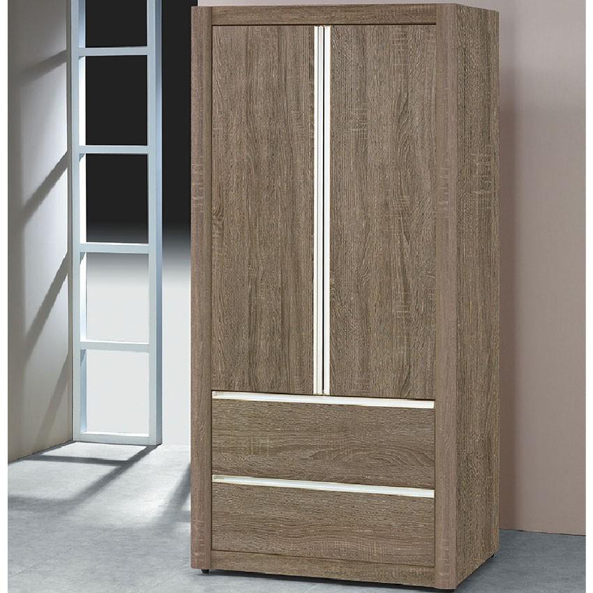 【84.5cm古橡二抽衣櫃-K16-46】木心板 推門滑門開門 衣服收納 免組裝 【金滿屋】