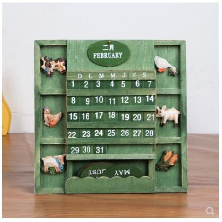 一件免運雜貨迷你小日曆創意手工木質日曆萬年曆家居擺件桌面裝飾小擺設@小怡小家