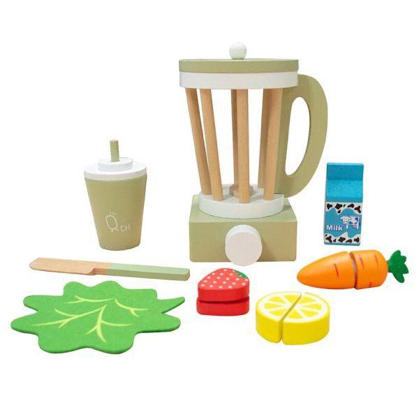 Teamson 小廚師法蘭克福木製玩具果汁機組-綠色(家家酒13件組)【麗兒采家】