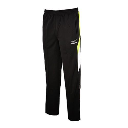 美津濃 MIZUNO 32TD653693(黑X蘋果綠) LOGO 針織運動長褲