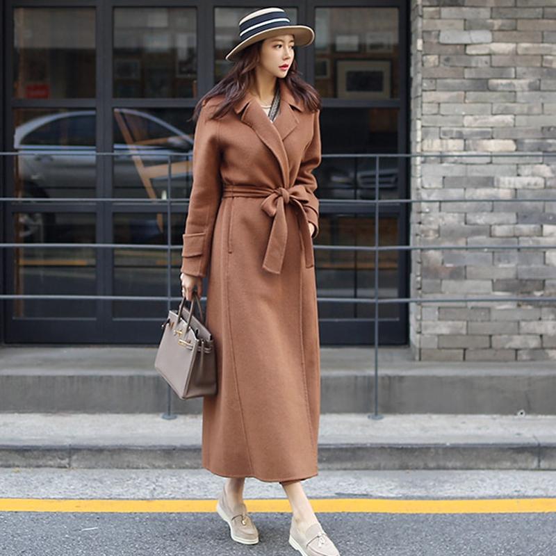 冬季毛呢大衣保暖長外套西裝領長袖正韓女生呢子大衣外套