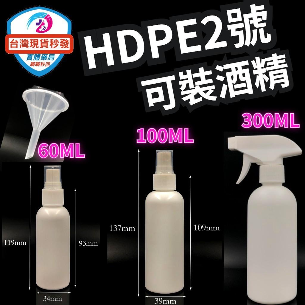 台灣現貨秒出 噴霧空瓶 小噴瓶(60ML.100ML.300ml  酒精噴霧槍) HDPE 2號 可裝75%酒精 漏斗