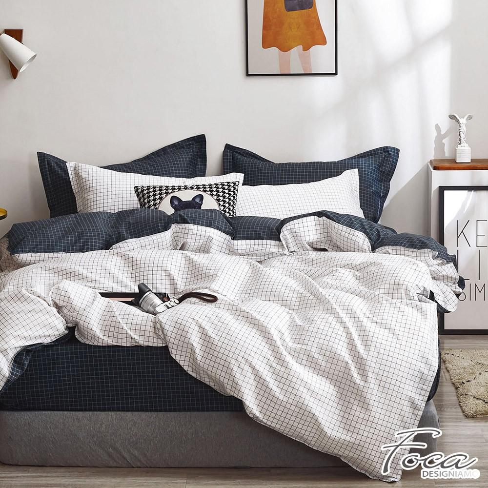 【FOCA純真年代-白】單人/雙人/加大/特大-韓風設計100%精梳純棉薄枕套床包組/兩用被床包組
