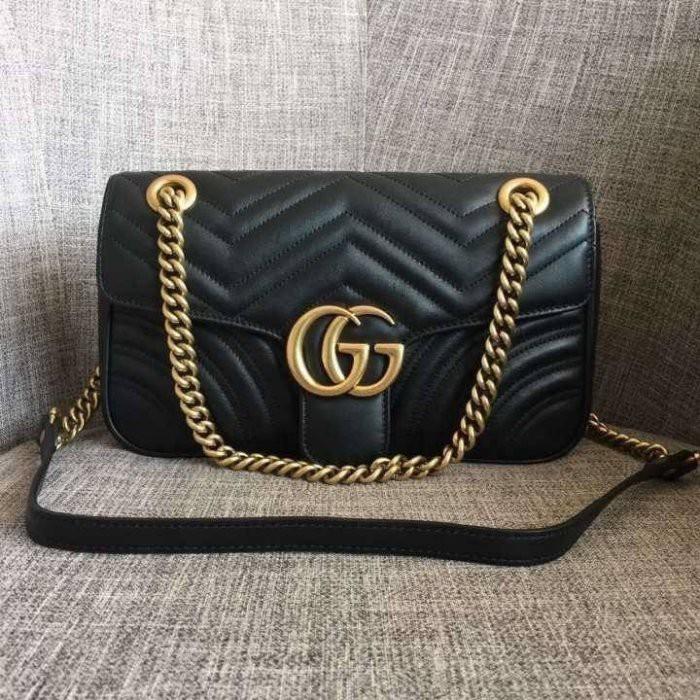 Gucci GG 443496 中款 31CM Marmont shoulder bag 黑色