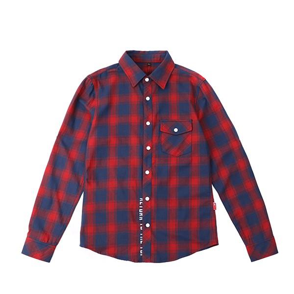 【RETOP】法蘭絨修身長袖格紋襯衫 紅 修身顯瘦襯衫 長袖襯衫 RM73307-04