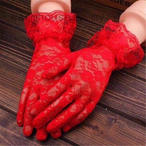 Warmhouselv 優雅女性新娘晚會舞會駕駛服裝蕾絲手套