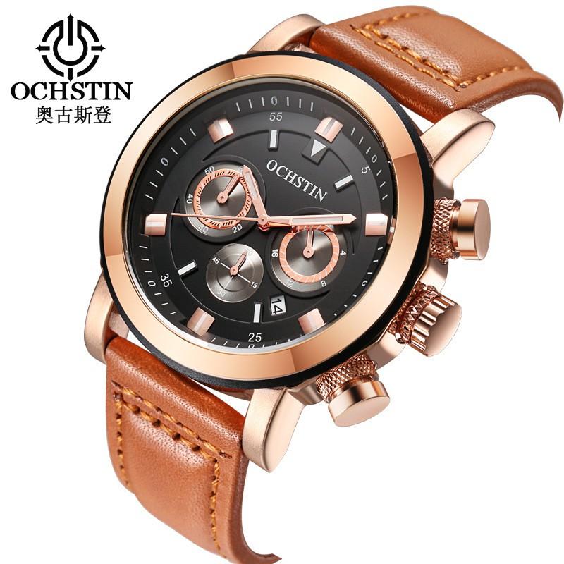 堅固的多功能男士手錶石英日曆手錶休閒皮革男士六手運動防水手錶