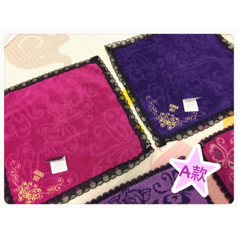 ANNA SUI 金色蝴蝶刺繡蕾絲毛巾/方巾(附禮卡+專櫃提袋)原價$680